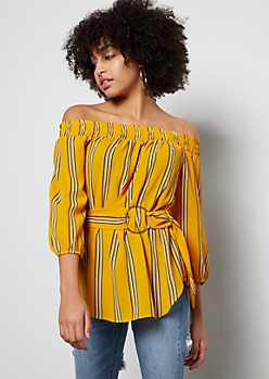 Mustard Striped Off The Shoulder Belted Blouse