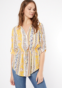 Yellow Floral Print Striped Half Zip Tie Front Top