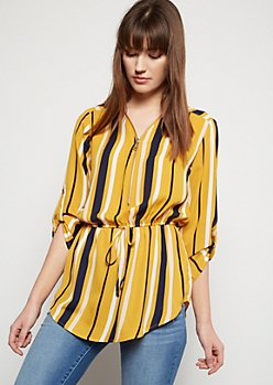 Mustard Striped Half Zip Tie Front Top