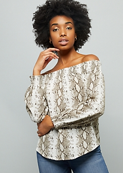 White Snakeskin Smocked Off The Shoulder Crepe Top