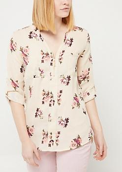 Ivory Floral Zip Front Pocket Blouse