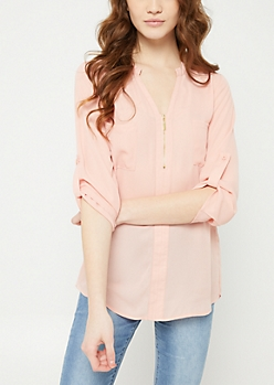 Medium Pink Sheer Quarter Zip Blouse