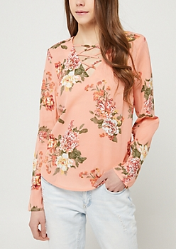 Salmon Floral Long Sleeve Lattice Blouse