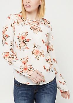 Ivory Floral Long Sleeve Lattice Blouse
