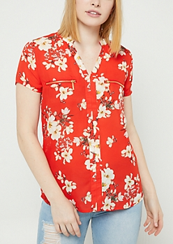 Red Floral Double Zip Blouse