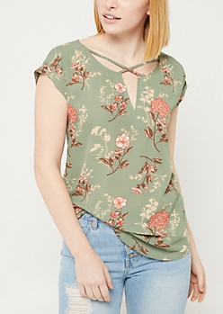 Medium Green Floral Cross Strap Blouse