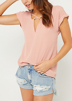 Medium Pink Cross Strap Rolled Sleeve Blouse