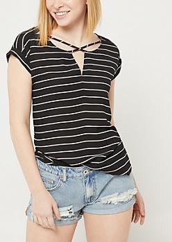 Black Stripe Cross Strap Blouse