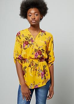Mustard Floral Print Half Zip Smocked Blouse