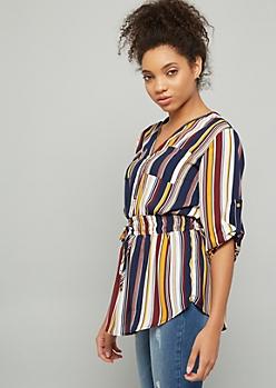 Multicolor Striped Print Half Zip Smocked Blouse