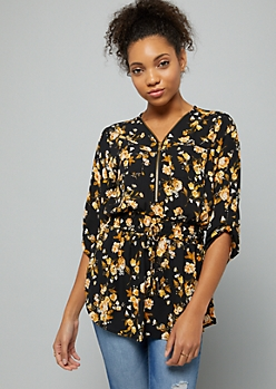 Black Floral Print Half Zip Smocked Blouse