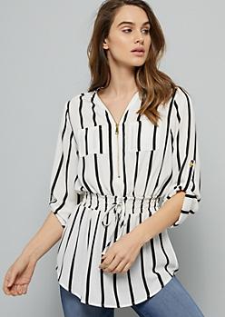 White Striped Half Zip Smocked Blouse