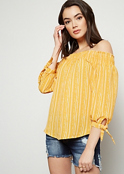 Mustard Striped Smocked Off The Shoulder Top
