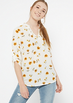 Ivory Floral Print Fixed Lace V Neck Blouse