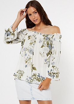 Ivory Floral Print Off The Shoulder Ruffled Blouse