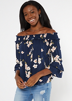 Navy Floral Print Off The Shoulder Ruffled Blouse