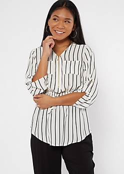 White Striped Smocked Waist Zip Neck Blouse