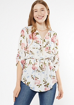 White Floral Print Smocked Waist Zip Neck Blouse