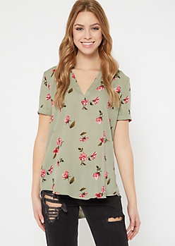 Green Floral Print Duo Woven Blouse