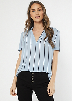 Blue Striped Duo Woven Blouse