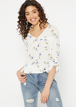 Ivory Floral Print Zip Pocket Button Front Blouse