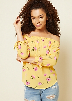 Yellow Floral Print Smocked Tie Sleeve Top