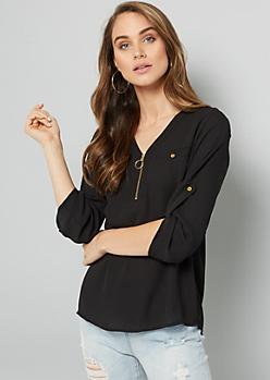 Black Zipped V Neck Pullover Blouse