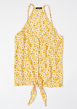 Yellow Daisy Print Tie Front Racerback Tank Top