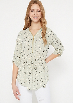 Green Daisy Print Zip Front Blouse
