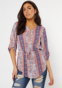 Coral Paisley Striped Zip Front Tie Waist Blouse