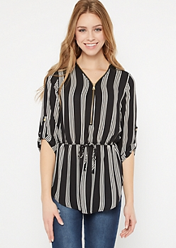 Black Striped Zip Front Blouse