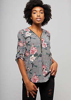 Black Checkered Floral Print Half Zip Blouse