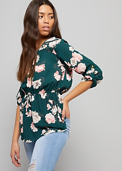 Green Floral Print Tie Waist Zip Front Blouse