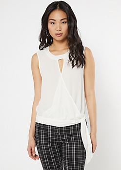 White Surplice Keyhole Tank Top