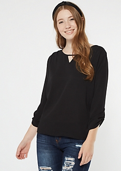 Black Lattice Back Crepe Blouse