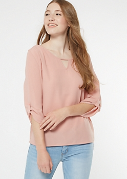 Pink Lattice Back Crepe Blouse