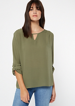 Olive Lattice Back Crepe Blouse