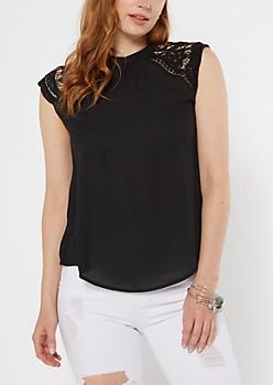 Black Crochet Sleeve Open Back Blouse