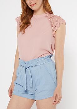 Light Pink Crochet Sleeve Open Back Blouse