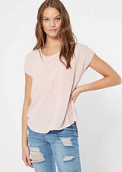 Pink Pleated Lattice Back Cutout Top