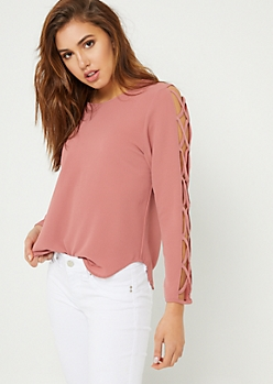 Medium Pink Lattice Sleeve Top