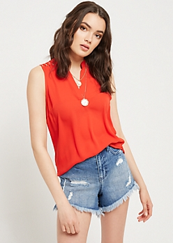Red Lattice Shoulder Tank Top