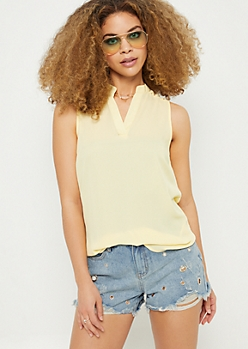 Yellow Lattice Shoulder Tank Top