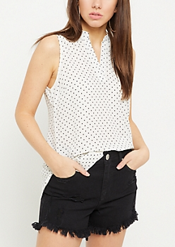 White Dot Print Lattice Shoulder Tank Top