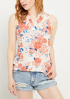 Ivory Floral Dot Print Lattice Shoulder Tank Top