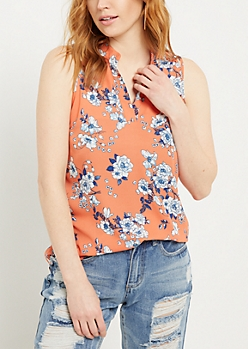 Coral Floral Print Lattice Shoulder Tank Top