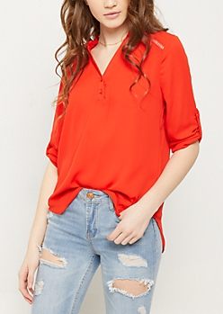 Red Shoulder Stitching Blouse