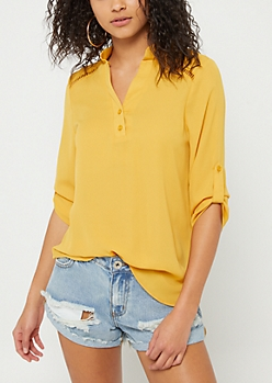 Mustard Shoulder Stitching Blouse
