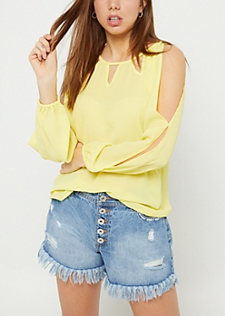 Yellow Open Shoulder Cutout Top