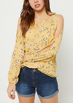 Light Yellow Floral Print Open Shoulder Top